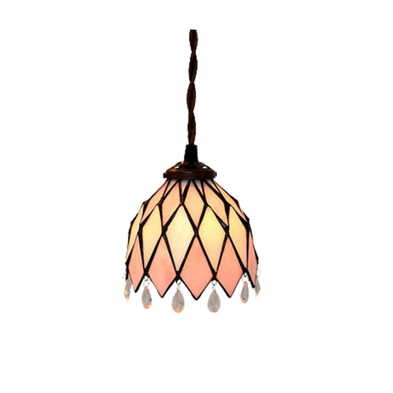 Stained Glass Single Head E27 Lampholder Long Cord Home Decorative Hang Pendant Lamp Light Bar Cafe Restaurant Stairs Lighting купить дешево онлайн
