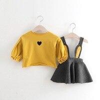 Baby Girls Dress 2pcs Long Sleeve Tshirt Dress Cute Rabbit 2018 New Princess Dress Kids Clothes
