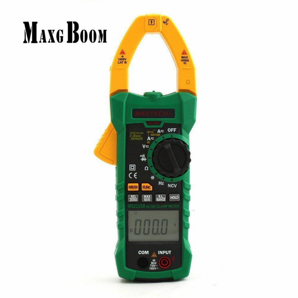 MaxgBoon MASTECH MS2115B True RMS Digital Clamp Meter Multimeter DC AC Voltage Current Ohm Capacitance Frequency Tester with USB digital clamp meter appa a3dr with true rms reading 1pc 100