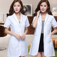 Short Sleeve White Coat Nurse Uniforms Beautician Summer Overalls Tattoo Division Work Wear