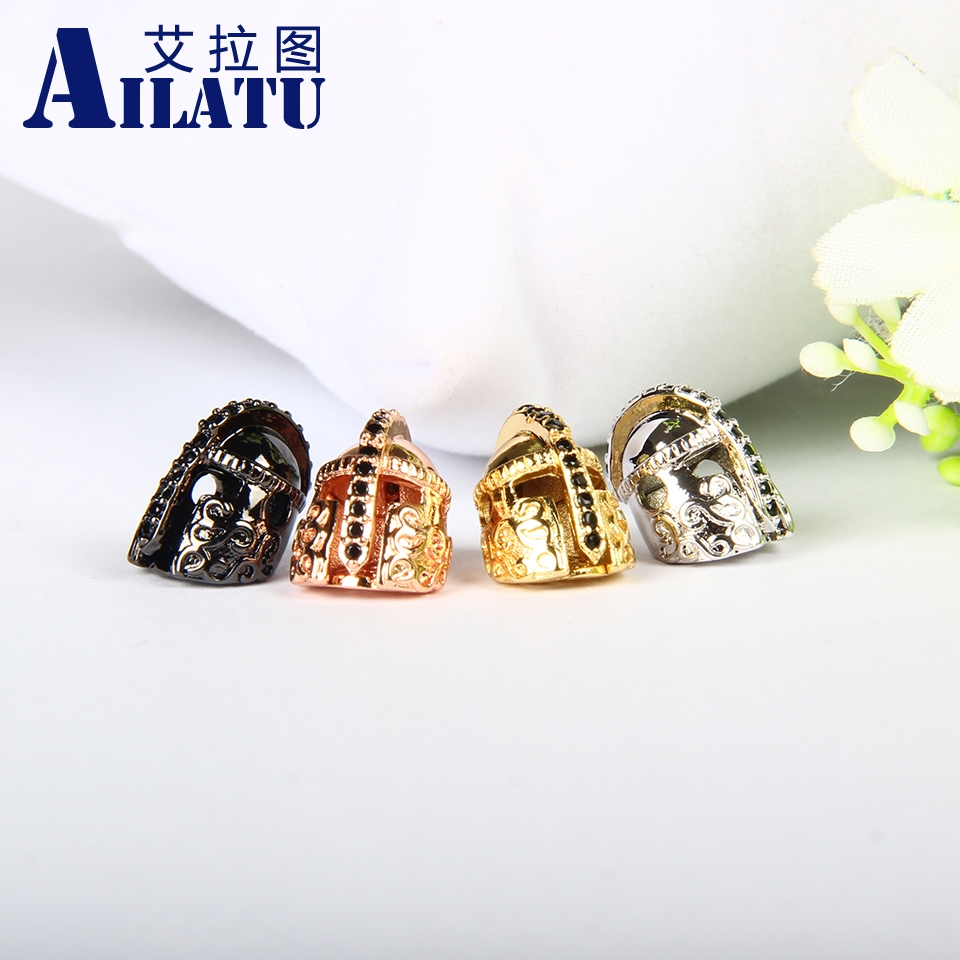 Ailatu Brand Jewelry Accessories to Diy Powerful Bracelets Be a Powerful Men Black CZ Warrior Helmet Beads