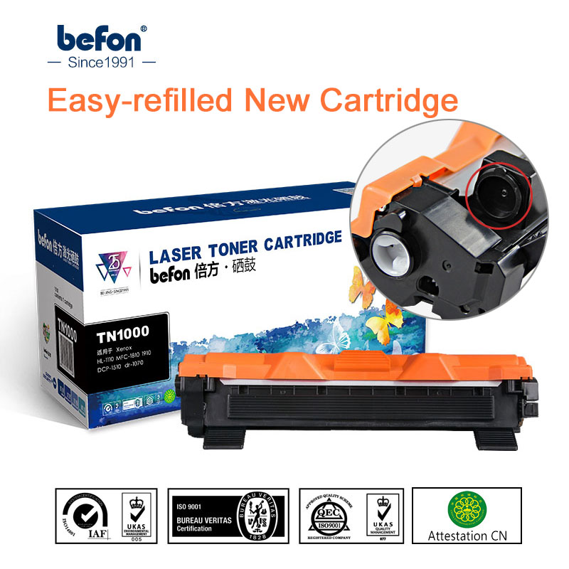 Befon cartucho de tóner Compatible para hermano TN1000 TN1030 TN1050 TN1060 TN1070 TN1075 TN1095 HL1110 TN 1000 1030 impresora 1075