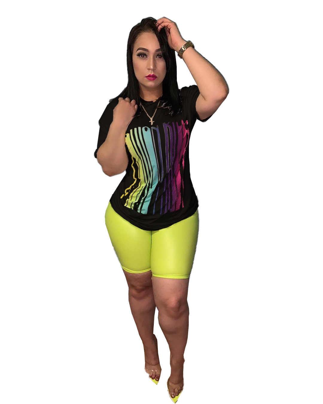 ファッション女性セット 2 ピース衣装セットカジュアル半袖 Tシャツスキニーパンツプラスサイズスーツ xxxl