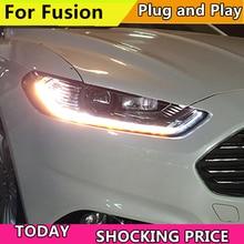 Автомобильный Стайлинг корпус передней фары для Ford Mondeo для Fusion 2013 2014 2015 фары, светодиодные фары DRL двухлучевые линзы Биксеноновые HID
