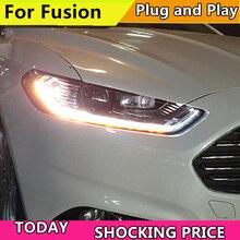 Estilo do carro caso da lâmpada de cabeça para ford mondeo para fusão 2013 2014 2015 faróis led farol drl feixe duplo lente bi xenon hid