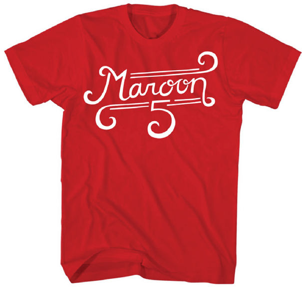 Maroon 5 Band Curl Logo Licensed Adult T Shirt