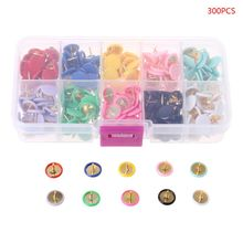 300pcs Home Office Colorful Drawing Pins Pushpin Thumbtack Cork Board Push Pin Photo Wall Map Markers
