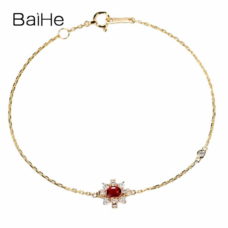 BAIHE sólido 14 K oro amarillo 0,2ct Certificado H/SI 100% diamantes naturales genuinos compromiso mujeres moda joyería fina pulsera