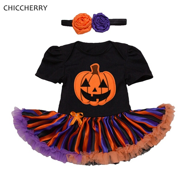 Pumpkin Black Halloween Costume For Kids Clothes Lace Tutu Baby Girl Dress Headband Vestidos Infantil Girls Halloween Outfits