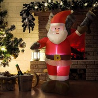Goplus 4 ft Airblown Inflatable Christmas Santa Claus Lighted Party Decoration 2018 Gifts New Year Decor for Home CM19942