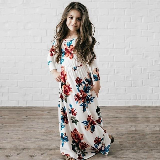 Длинное платье для девочек Летняя Пляжная туника цветочный платье с цветочным принтом модная детская одежда Вечерние Летнее платье принцессы вечерние Вечернее платье для девочек