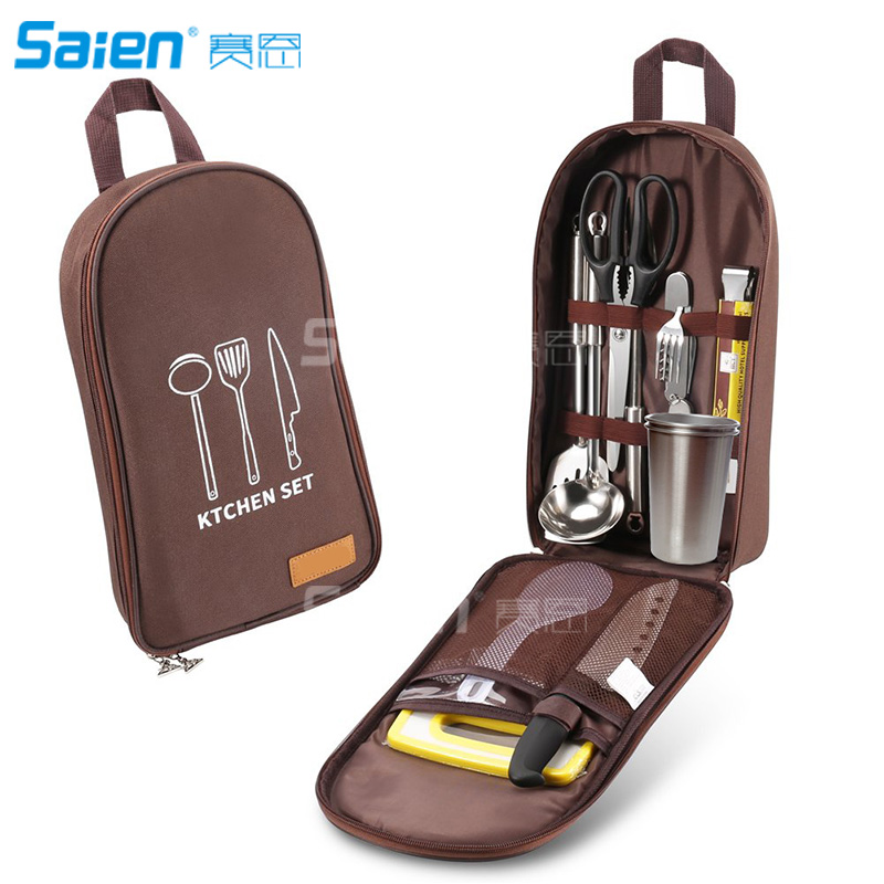 12 PCs Camping Kitchen Utensil Set Camp Cookware Utensils Organizer Travel Kit with Water Resistant Case