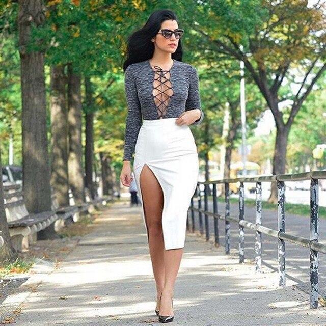 99cb4add4 € 8.09 |Novlety diseño del verano del otoño blanco de corte de talle alto  mujeres Bodycon lápiz faldas moda casuales para mujer del todo fósforo ...