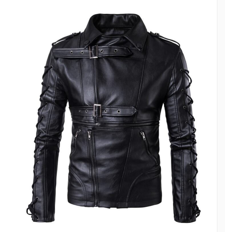 Noir moto cuir veste hommes Rock Punk court dentelle ceinture boucle revers vêtements hommes en cuir vestes et pu manteaux biker