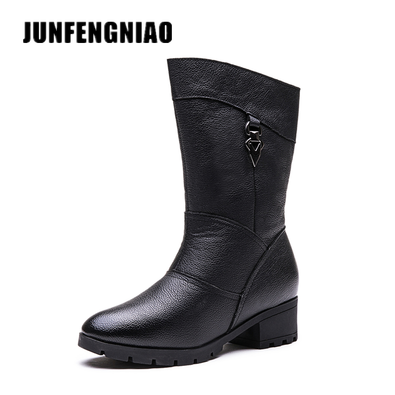 JUNFENGNIAO Snow Women Boots Shoes Warm Plush Fur Winter Artificial Motorcycle Cow Genuine Leather High Quality GZXM-662 fedonas top quality winter ankle boots women platform high heels genuine leather shoes woman warm plush snow motorcycle boots
