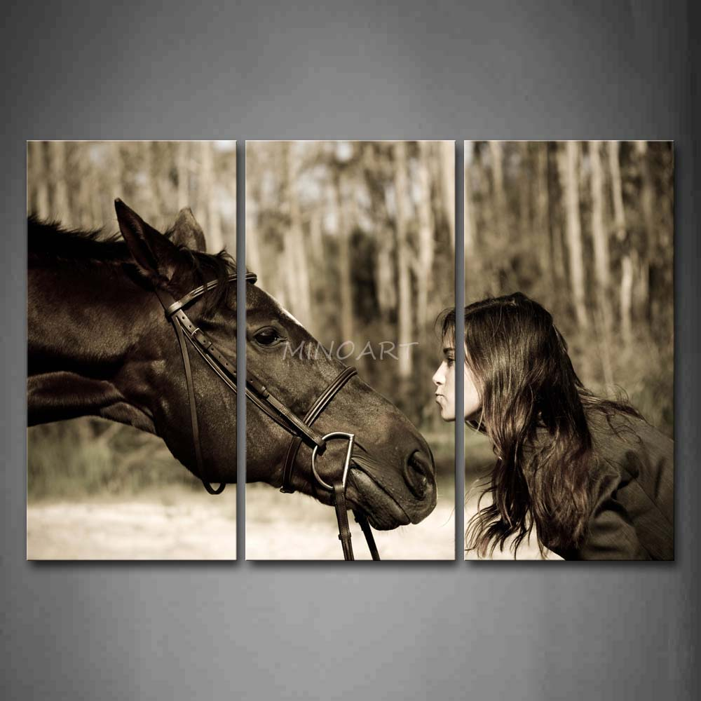 3 Piece Wall Art Painting Nice Youger Face To With A Black Horse Print On Canvas The Picture Animal 4 Pictures In Calligraphy From Home
