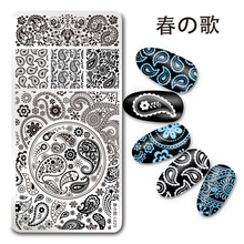 1 Pc Harunouta Rectangle Stamping Plate Paisley Bandanna Pattern Nail Art Image Plate Harunouta L020