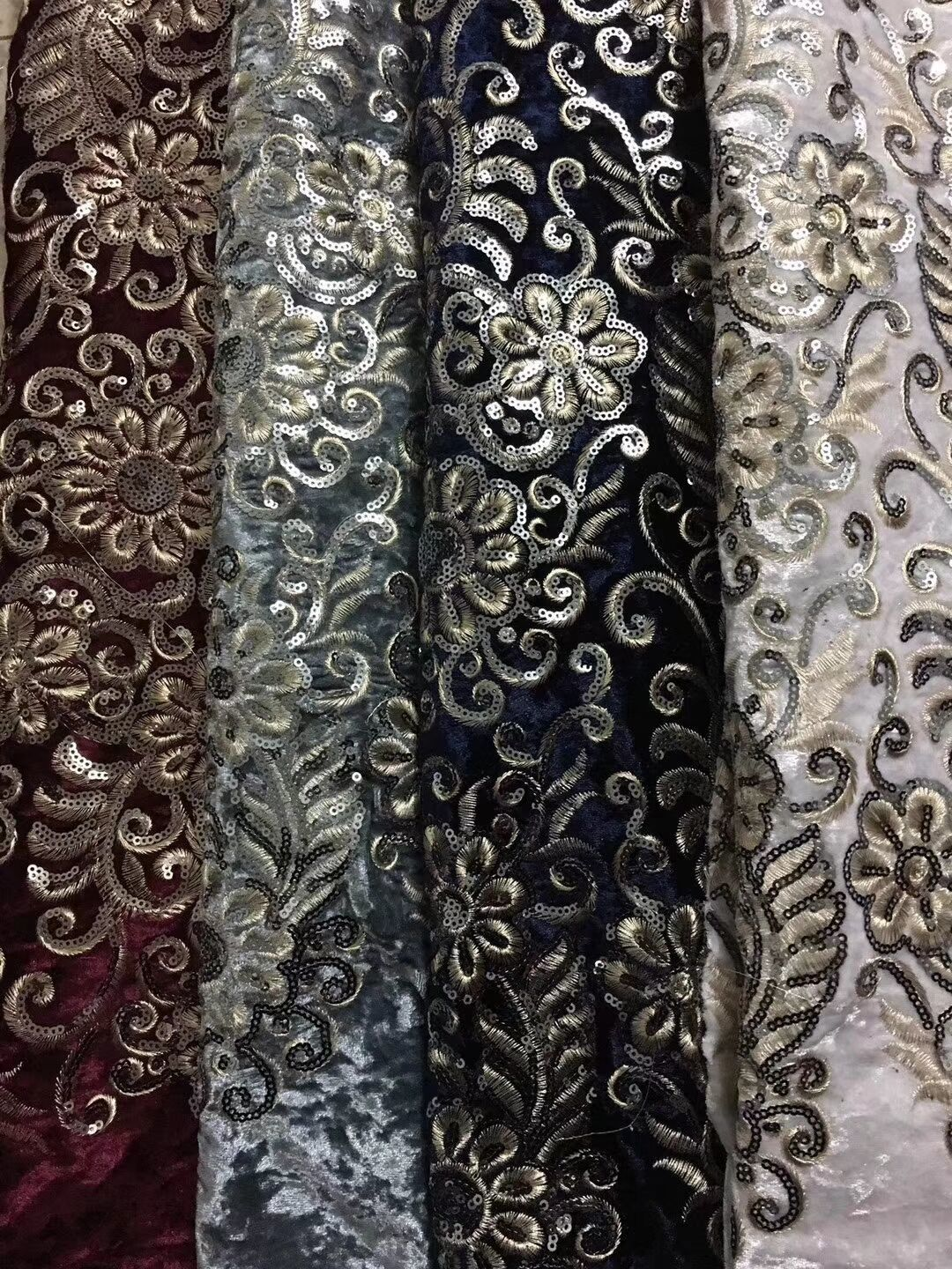 African French Lace Fabric with sequins High Quality African Tulle Lace Fabric with sequins 5yards sequin lace fabric