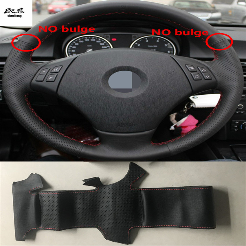 Sew-on Microfiber leather car steering wheel cover Car accessories for BMW E90 320 318i 320i 325i 330i 320d X1 328xi 2007(China)