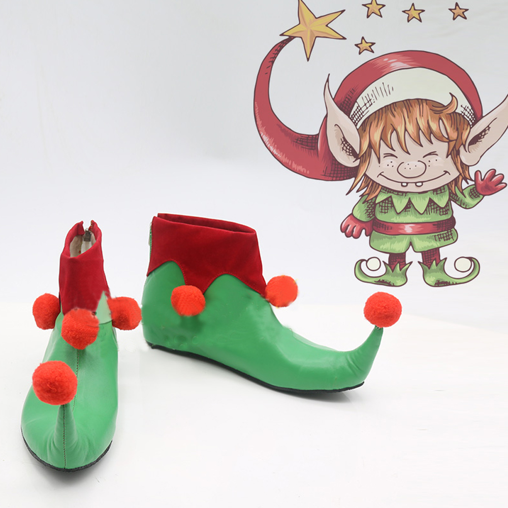 Christmas Elf Cosplay Shoes Boots Superhero Halloween Carnival Party Costume Accessories For Men