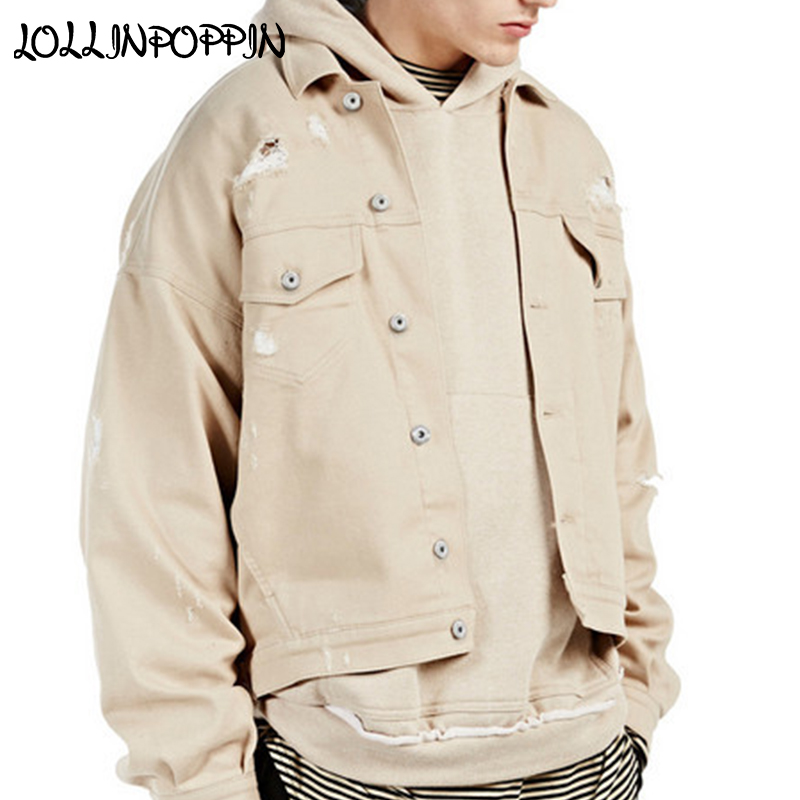 Mens Ripped Beige Denim Jacket High Street Drop Shoulder Design Distressed Jean Jackets With Chest Pockets Streetwear Oversize