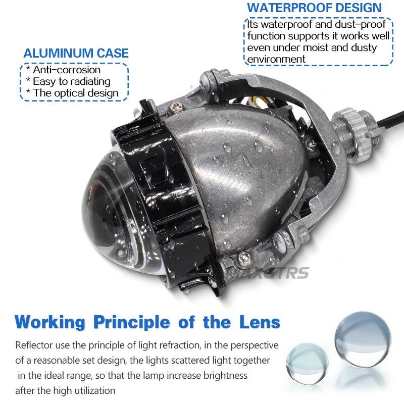 2019 MAXGTRS 3.0 pouce Super Lumineux Auto Bi LED Objectif Du Projecteur 6000 k Voiture Haut Bas Faisceau Bi-LED objectif Phare Avec Faisceau Excellent - 3