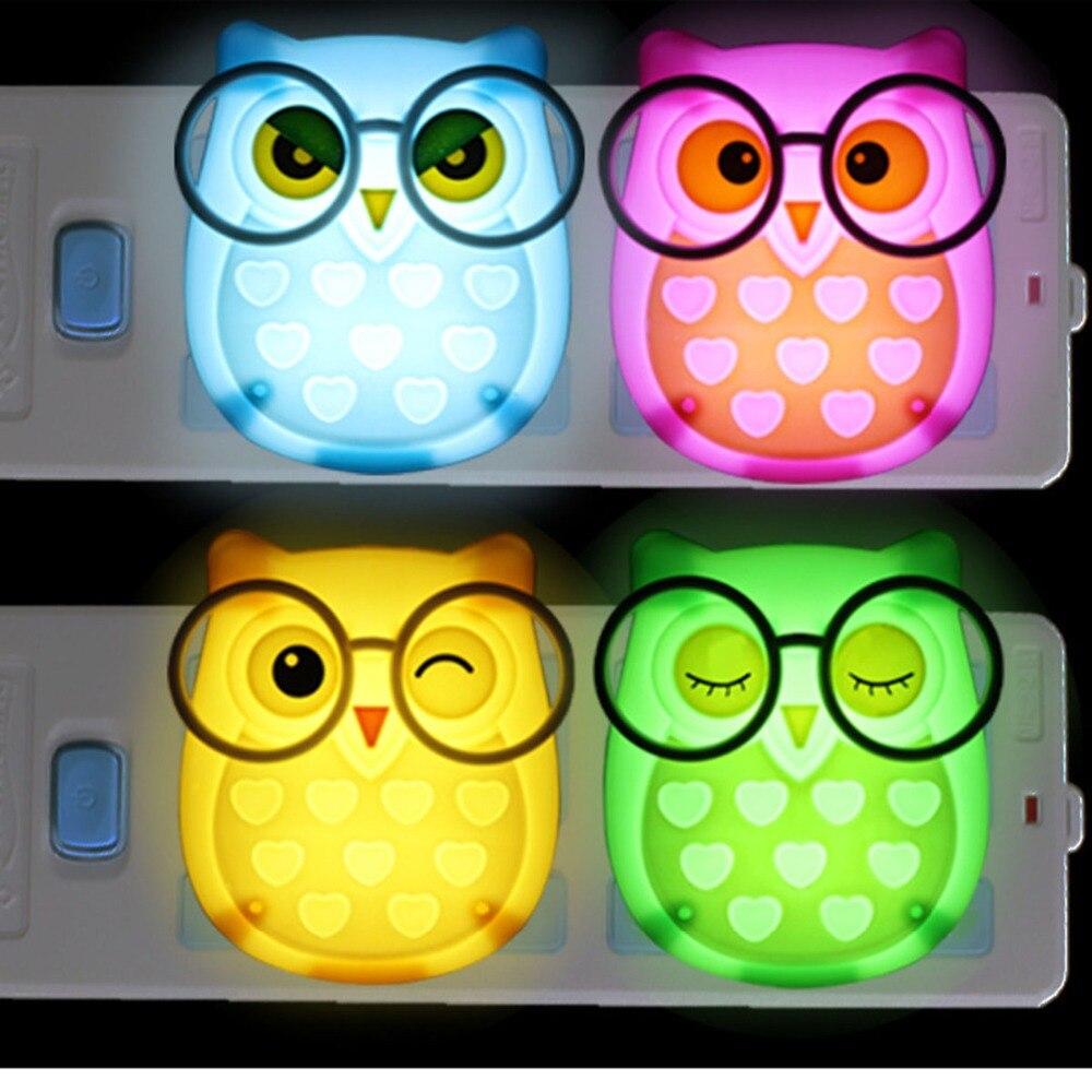 NDTUSMZ Nightlight Auto Control Sensor Lamp Mini Owl Led Soft Lights Bedroom Lighting Wall Light EU Edition Automatic Light