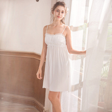Wasteheart Women Fashion White Sexy Sleepwear Spaghetti Strap Nightdress Lace Nightwear Sleepshirts Nightgown Night