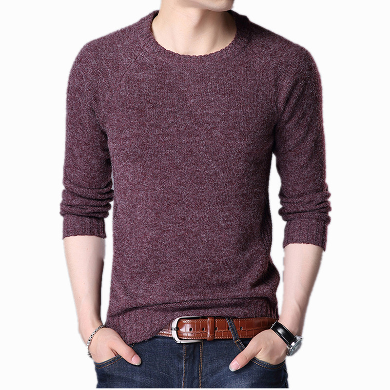 Fashion Mens Sweaters Wool Warm Pullovers Autumn Winter Tops Knitted Long Sleeve Round Neck Male Printed Stitching Sweater