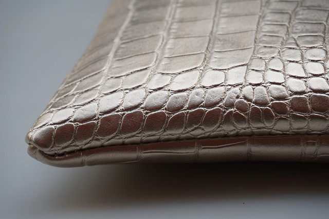 Women's Crocodile Leather Patterned Envelope Clutch
