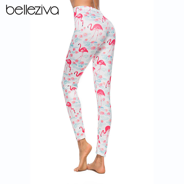 how to buy new prevalent US $11.1 48% OFF|Belleziva Flamingo Print Elastic Skinny Leggings Women  Yoga Pants Elastic Gym Fitness Workout Running Sport Female Trousers-in  Yoga ...