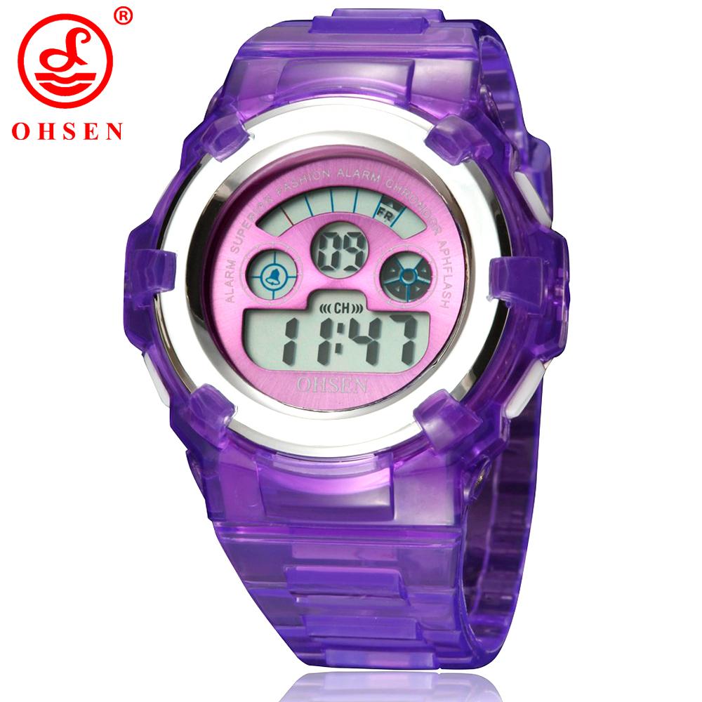 Prix pour OHSEN Enfants Montre De Mode Casual Montres Quartz Montres De Gelée Imperméable Enfants Horloge garçons Heures filles Étudiants Montre-Bracelet