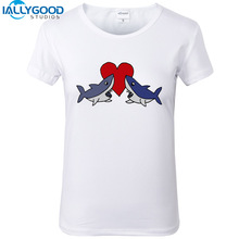 Newest Funny Cute Shark Love Art T-Shirts Women Summer Printed T Shirts Plus Size Short White Tops S1192
