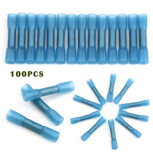 цена на 100PCS Waterproof Heat Shrink Terminals Seal Butt Wire Connectors Insulated Crimp Terminals Connector Kit 16-14 AWG