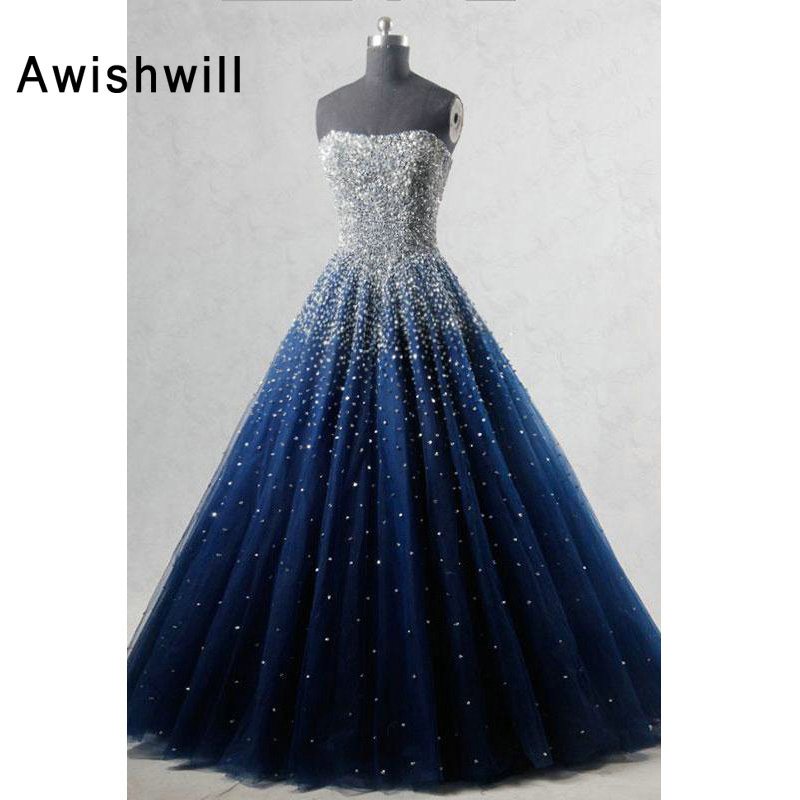 Real Photo A line Strapless Sleeveless Elegant Evening Dress Beadings African Formal Dress in Navy Blue