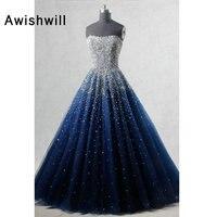Настоящая фотография линии без бретелек рукавов элегантные вечерние платья бисер в африканском стиле торжественное платье в Темно синие Д