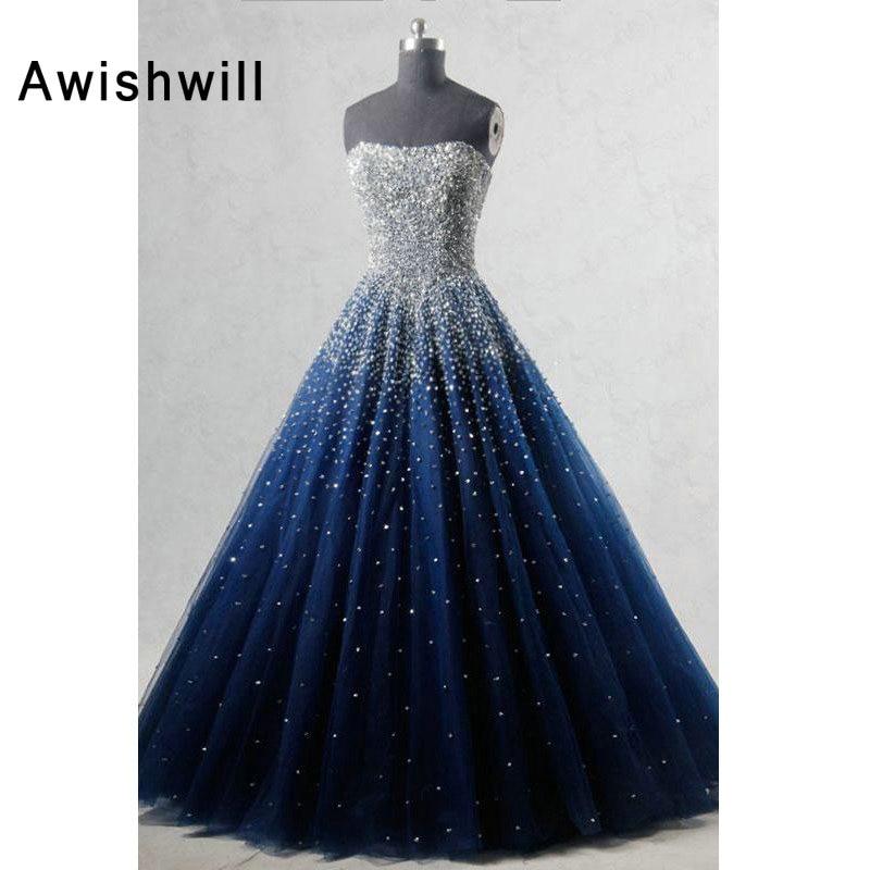 Real Photo A line Strapless Sleeveless Elegant Evening Dress Beadings African Formal Dress in Navy Blue Women Long Prom Dresses