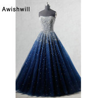 Real Photo A line Strapless Sleeveless Elegant Evening Dress Beadings African Formal Dress in Navy Blue Women Long Prom Dresses
