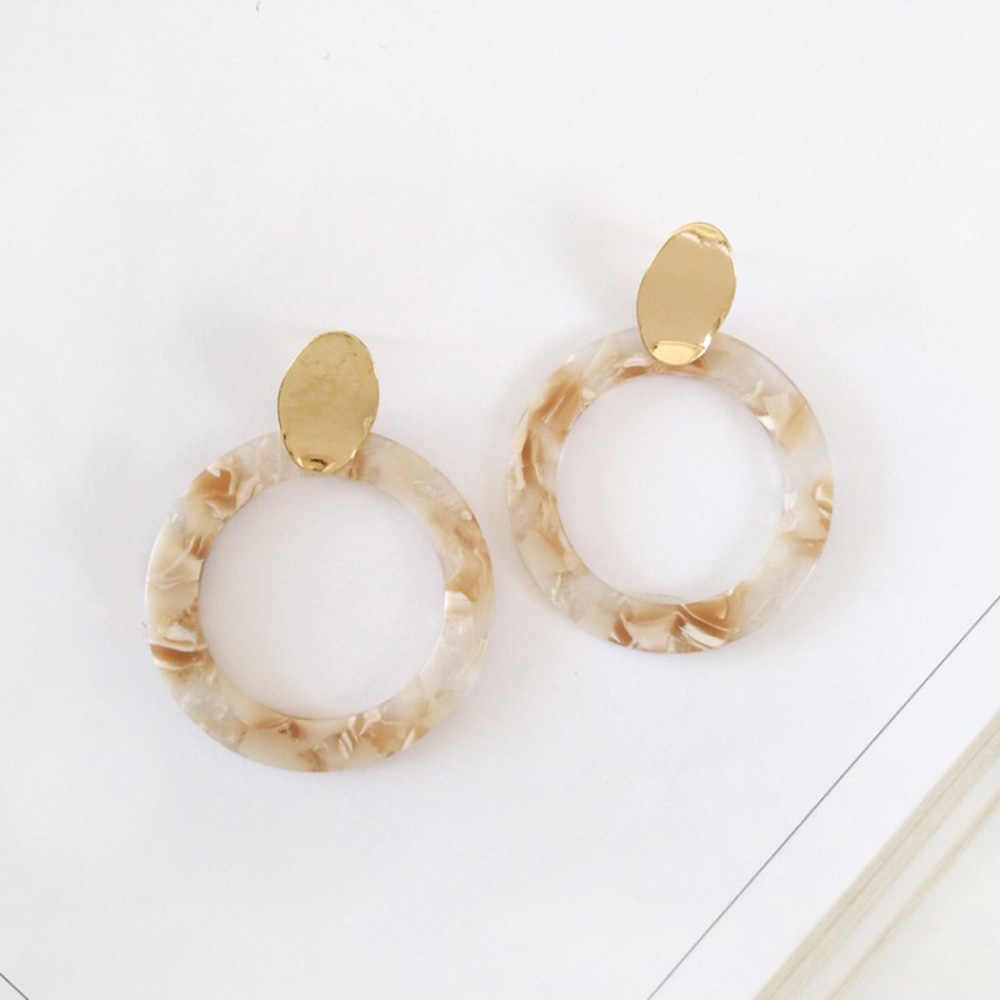 Bing Tu Simple Big Round Resin Earrings Gold Color Clip Earrings Without Piercing Wedding Jewelry Geometric Earring No Ear Hole