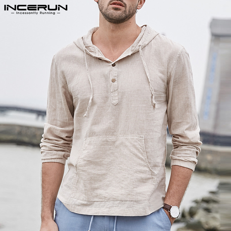 Men's Linen Hooded T-Shirts Long Sleeve Striped Pockets Regular Fit Pullovers Cotton Breathable Classic Hiphop Tees Male Tops