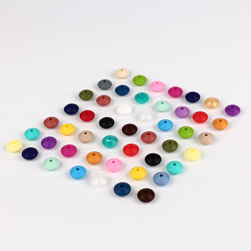 TYRY.HU 100Pcs/Lot Lentil Round Silicon Beads Teether Baby Teething Silicone Beads DIY Necklace Pacifier Chain Food Grade
