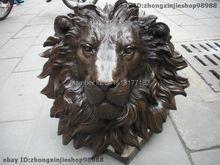 Китайский Чистая латунь HSBC голова льва настенные Семья Декор Книги по искусству Скульптура украшения сада латунь отделка Будда Исцеление статуя