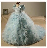 100 gerçek çocuk kız bulut ilmek açık mavi mahkemesi boncuk ortaçağ elbise prenses çünkü güzellik elbise/dans/sahne performans