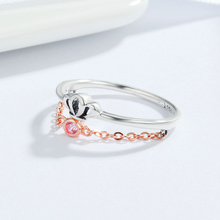 Authentic 925 Sterling Chain Link Silver Temperament Queen Crown Women Finger Rings Fashion Party Birthday Fine Jewelry HB03D