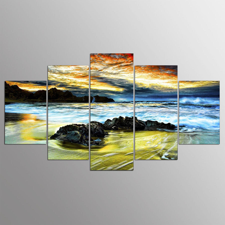 5 panel moderne Strand, wolke hd kunstdruck leinwand kunst wand ...