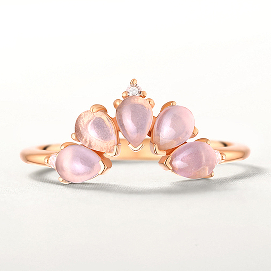 ALLNOEL 2019 Real 925 Sterling Silver Ring For Women 100% Natural Rose Quartz Blue Topaz Labradorite Gemstone Stack Fine Jewelry (9)