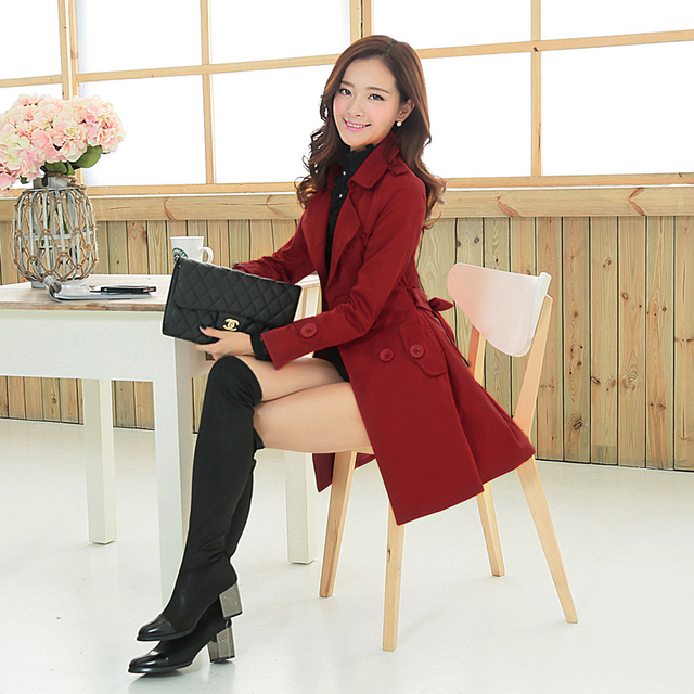 2015 New Style Spring Autumn Women Trench Medium-long Outerwear With Sashes Fashion Streetwear Coat Slim Solid Female Trench