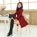 Primavera outono mulheres casaco fino trincheira Outerwear médio - longo com faixas Streetwear feminino sólida trincheira