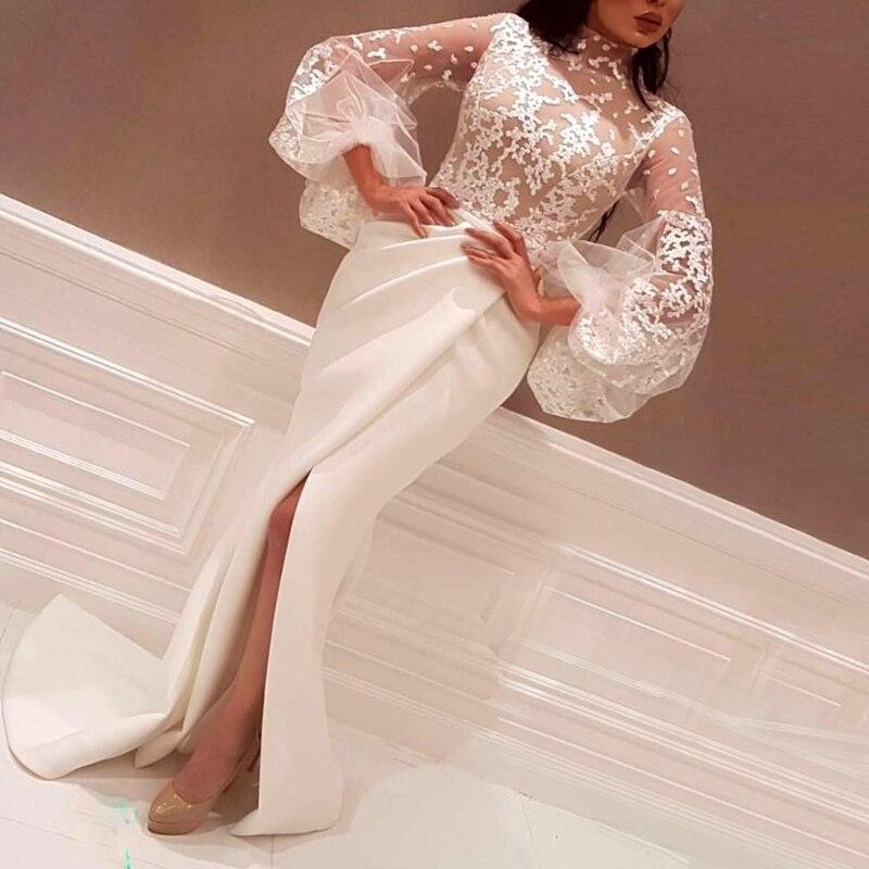Col Élégant Arabe De Arabie Sirène À Dentelle Satin Party Soirée Longues Robes Haut En Blanc Femmes Split Prom Manches 80OPnwk
