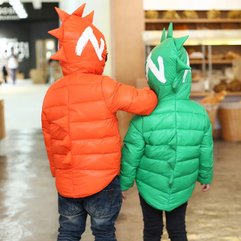 Winter Children Boys Jackets Cartoon Tyrannosaurus Girls Winter Coat Kids Outerwear Baby Boys/Girls Down Jacket Infant Clothes 16